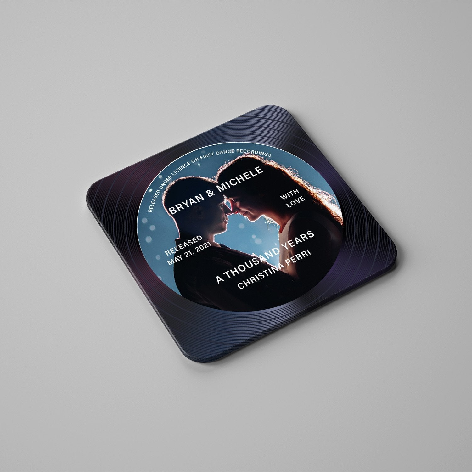 Custom Set Of 4 Stone Coasters Personalized With Photo, Name, Song and Text