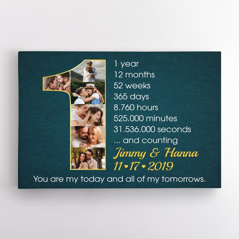 Show your wife that you appreciate every moment with her on your first anniversary by choosing an anniversary gift by year - a custom wall art. A photo collage canvas art to count the time together would be meaningful to prove your care and still remember. Simple and touching.