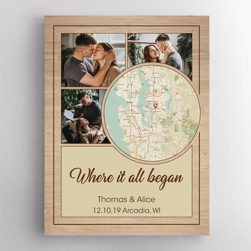 Another gift idea for a sweet anniversary is a custom map art. One outstanding point of this cool wall art is that you can make your own map by just typing any address. Plus, you can add your memorable wedding pics and romantic message to make the canvas print prettier and sincerer.