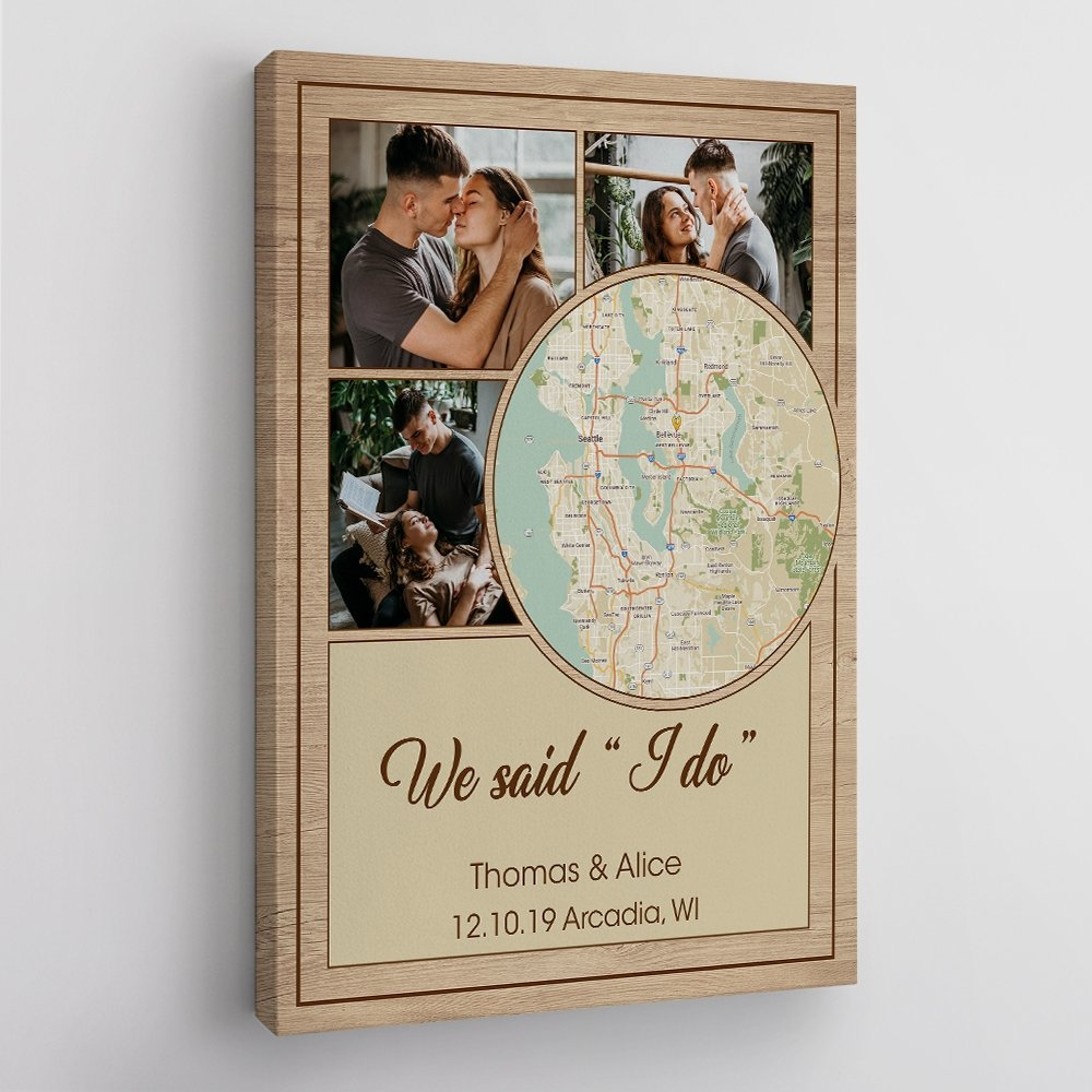 First met is so sweet and no one can forget it. Keep this special moment last forever by getting him a canvas wall art personalized with your photos and a map of your first met. This is a very trending gift for the first anniversary. Where it all began map gift will stay on the wall to remind both of you about your love.
