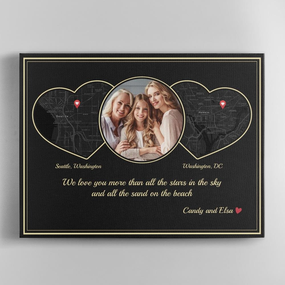 If you are away from your mom this upcoming Mother's day, then this personalized map print idea is a perfect gift suggestion for you. The location map of you and your mom will be connected by a heart-shaped photo. This gift will tell mom that how far apart you are, you always love her.