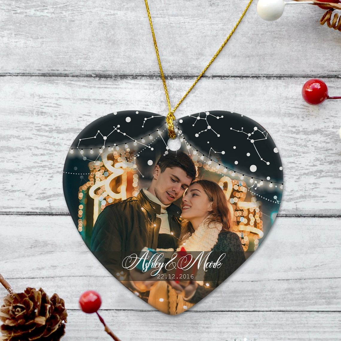 This couple's personalized ornament commemorates the sweetest eternal relationship. This small gift idea is the perfect way for any couple to look back at their favorite memories.