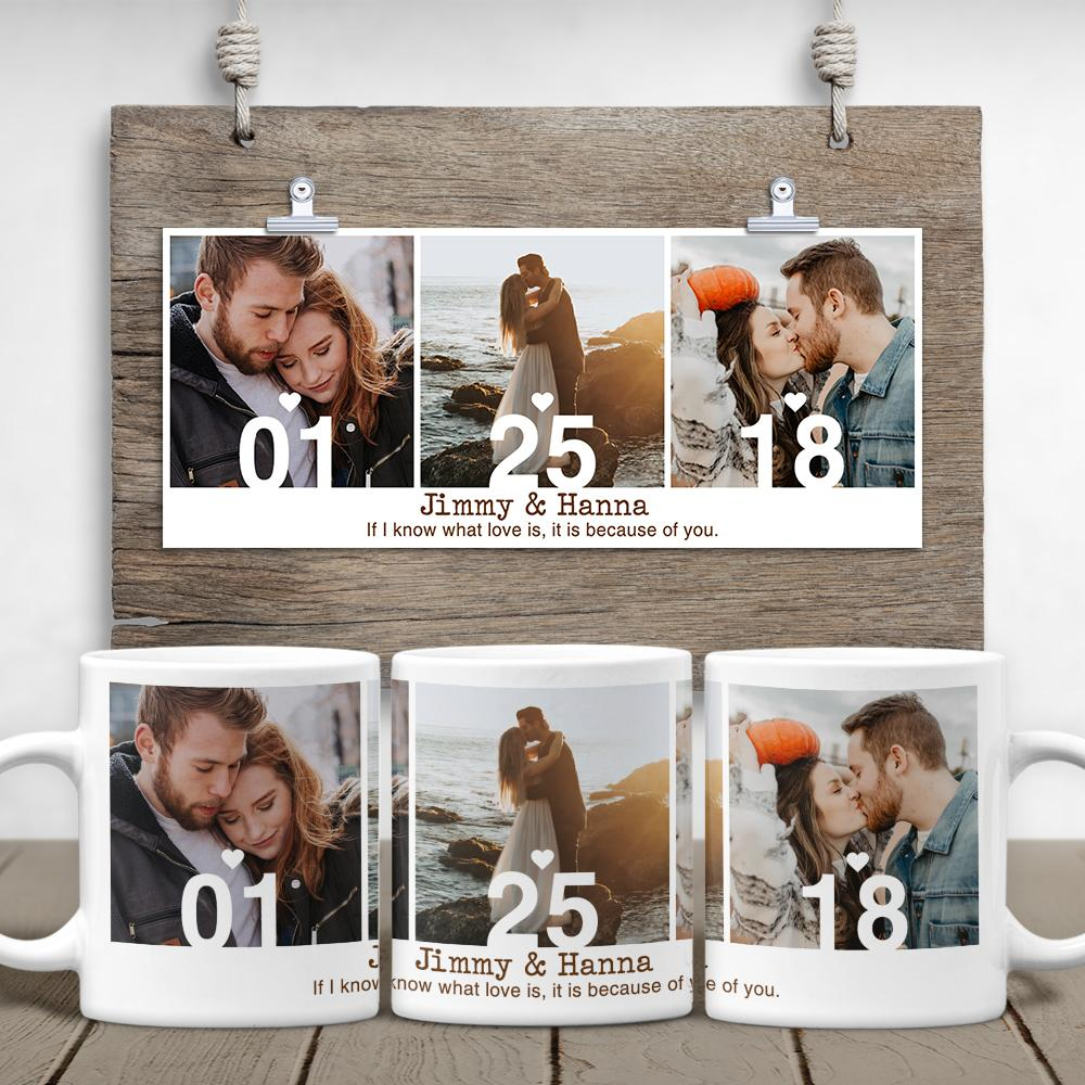 You can design your own mug by putting three different photos on each side of the mug along with your anniversary date. This white coffee mug is a unique pottery anniversary gift for your boyfriend or husband. The sweet message printed on your photo gift will bring something special for his morning pick-me-up.