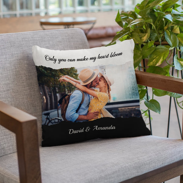 Custom Photo Collage, Personalized Text Pillow