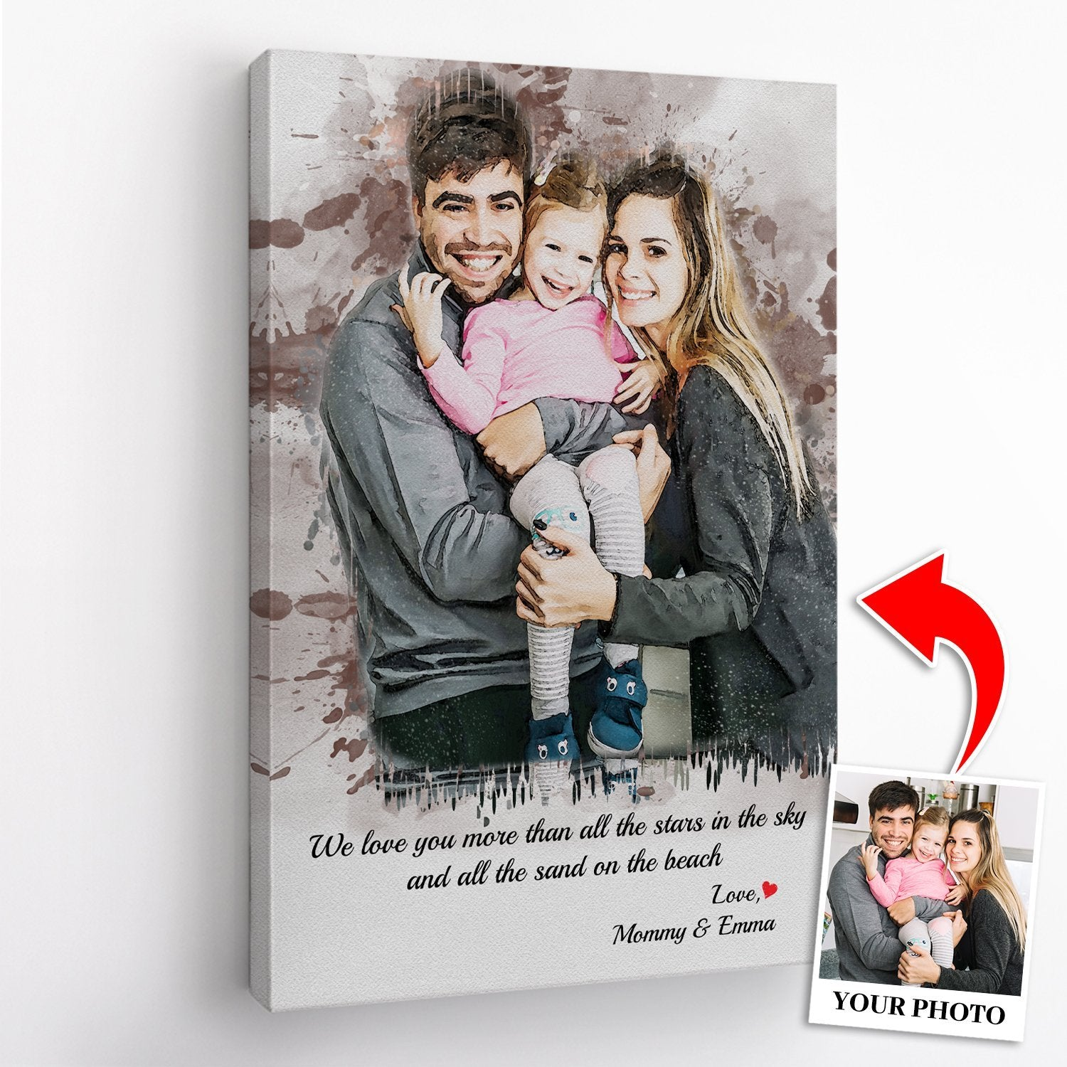 """The so-called """"Cool Dad"""" of yours already has everything he needs? I'm sure he will always open his arms and appreciate everything you want him to have. Just send us your favorite photo of him and we will customize it in watercolor style. Let's make this Father's Day the best day ever for him!"""