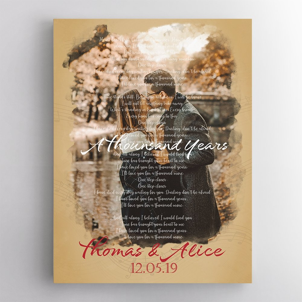 Do you remember the song that creates you two's connection? Let turn it into your first anniversary gift with this canvas wall art personalized with the song lyric together with names and photo. This creative music wall art is a good gift for a music lover that lets her see her favorite song always and also can make her feel your love too.