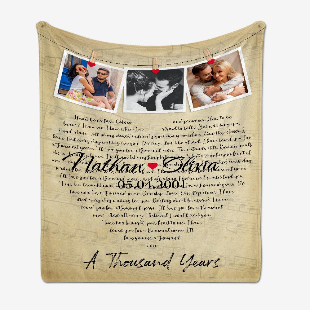 Print his favorite song, so he can wrap himself up in love. This blanket with song lyrics is a great personalized Valentines gift for your husband. Design your own today!