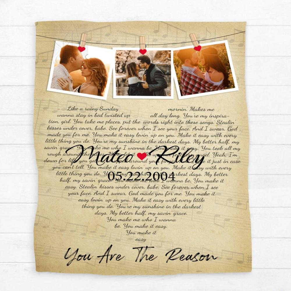 The personalized blanket with the print of your photos and anniversary song is a perfect custom photo gift not only for body warmth but also for interior decor accessories. With a combination between the classic style and memorable design of your heart-shaped lyrics and photos, this blanket can remind your lover of sweet and happy moments on your wedding day every night.