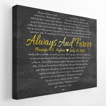 Custom Song Lyrics Heart Shape, Personalized Song Name And Text Canvas