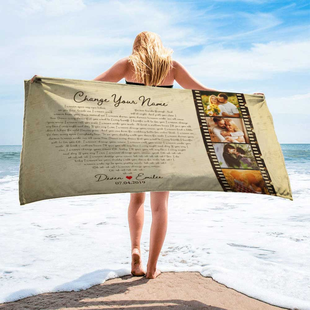 Surprise your partner when he/she uses the towel with your wedding pictures and first dance song on it. And if you and your partner like going to the beach and enjoy sunbathing, why don't you take this beach towel along and let everyone know you two are the cutest couples in the world.