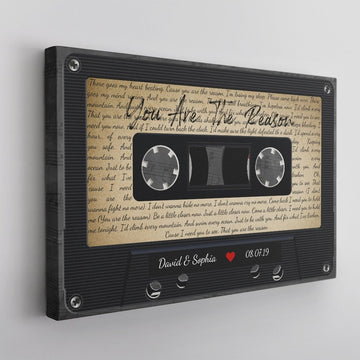 Custom Song Lyrics, Personalized Name, Date, Song Name Cassette Tape Canvas Wall Art
