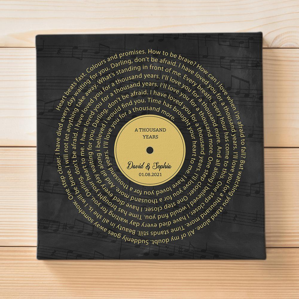 Do you have a song close to your heart? On this anniversary, why not put the lyrics of your favorite song, wedding song, or first dance song on canvas to remember every single word without any effort. It's sure to be a great anniversary gift and a perfect addition to any room.