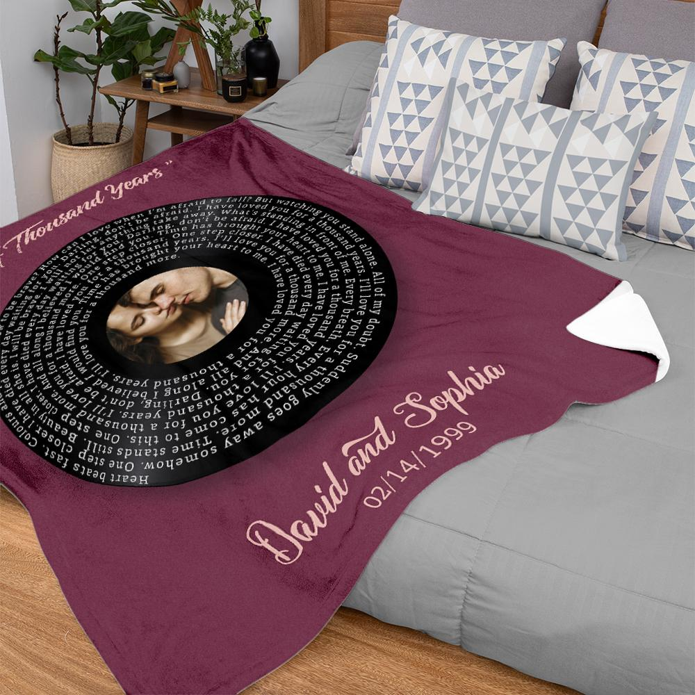 This personalized blanket creates a comfortable and warm environment at home. It is gentle to touch, suitable for any home. Just customize with your first dance song to make it a unique anniversary gift.
