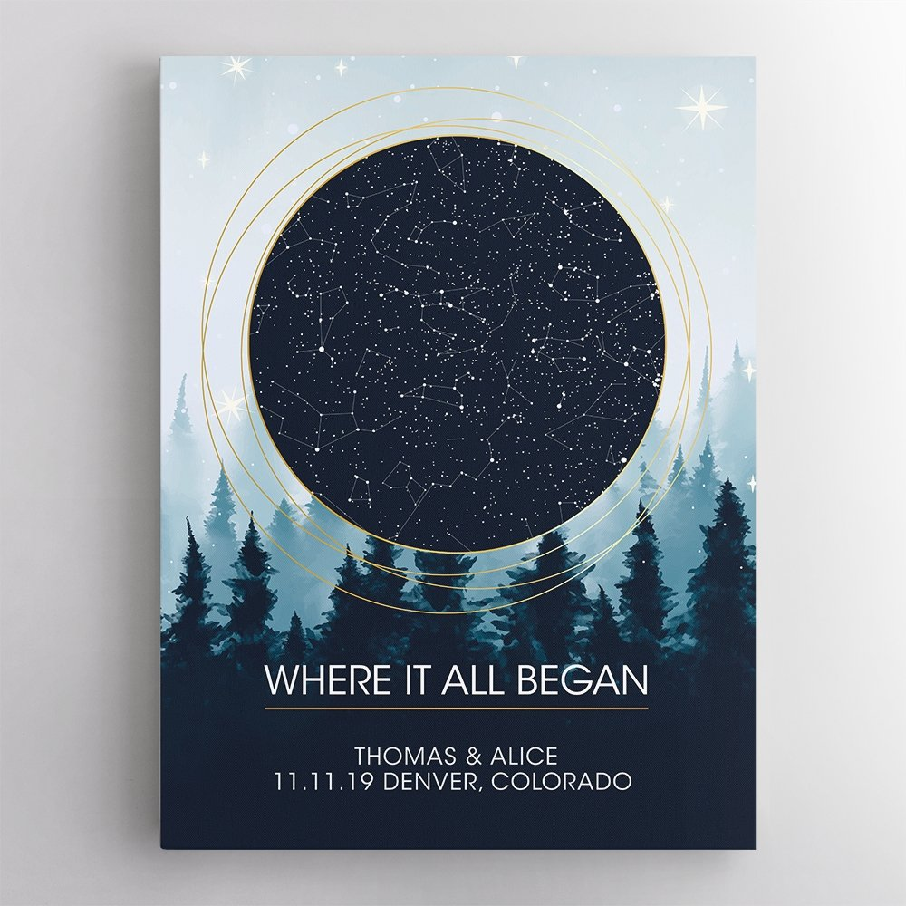 Finding an anniversary gift for an astronomy lover is really tricky? No, not that tricky! Do you remember the first place of your first met? This first special memory in your love relationship can be commemorated by a Custom Star Map of beautiful night sky and twinkle stars. Constellation chart is just made by the location and the date you met your spouse. Design yours and guess how your astronomy-loving sweetheart will react when receiving this meaningful astronomy gift!