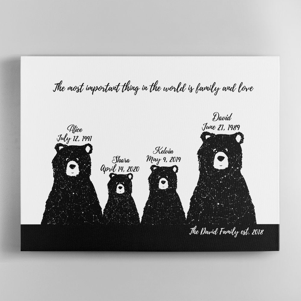 """Do you know the meaning of the word """"Mama bear""""? It is about a mother who is extremely protective of her child. Sounds like your mom, doesn't it? So this Mother's day, why not get mommy a Custom bear family star map canvas art as a thank you for the way she loves and protects you? The cute bears with the unique star map in the night sky of the day you choose will make this gift a meaningful keepsake not only for mommy but also for your whole family."""