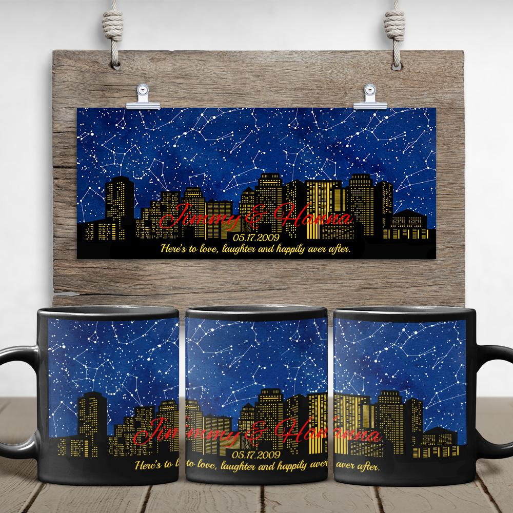 One popular gift for men is a coffee mug. Let get a custom coffee mug with a star map that features stars in the beautiful night sky on the day you met him. This sweet and cool design mug will show your care and make his coffee more delicious.