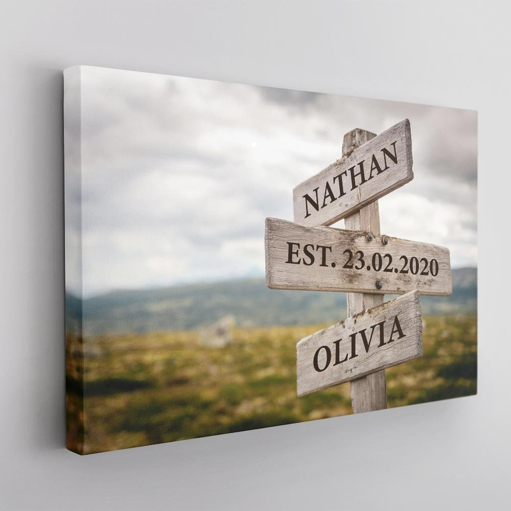 The Street Sign Art in classic style looks simpler than the above wall arts, but the meaning behind this elegant print greatly matters. It represents the intersection of your love, the moments your street paths crossed and the wish to be on the same passage together ever after. That's why you can't skip this personalized street sign. It's also suitable for a travelholic who is genuinely passionate about road trips and new things.