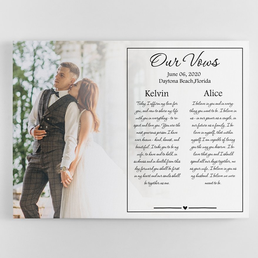 """Commemorate your wedding day with this modern """"Custom Wedding Vow Photo Canvas Print"""" by upload a beautiful wedding photo, enter the names of wife & husband, date & city/state."""