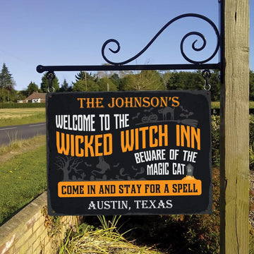 Customized House Sign, Welcome To The Wicked Witch Inn Beware Of The Magic Cat