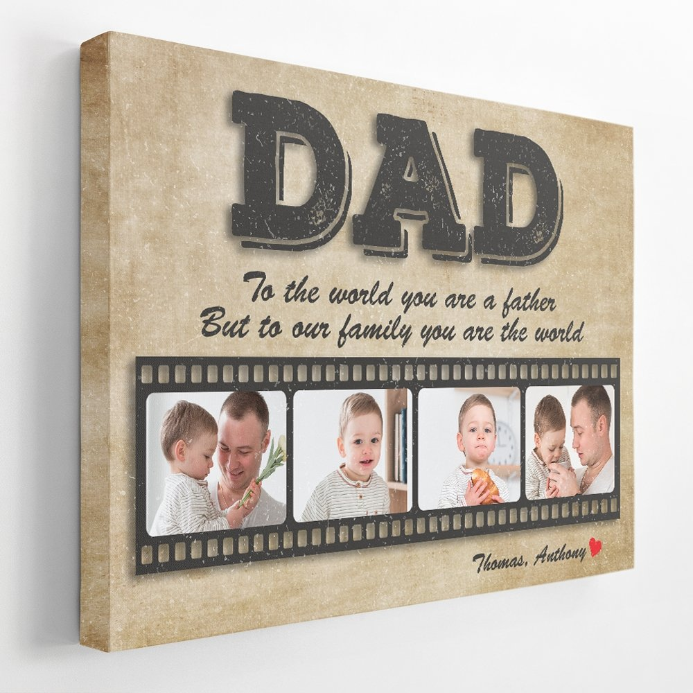 One of the best gifts for a new dad is something he can treasure forever. For the first time being a father, nothing is more precious than the moments he spends with his baby. Let's take some pictures of them and make a beautiful vintage-style wall art personalized with your name and father's day message. I'm sure he'll be shocked when looking at it in person.