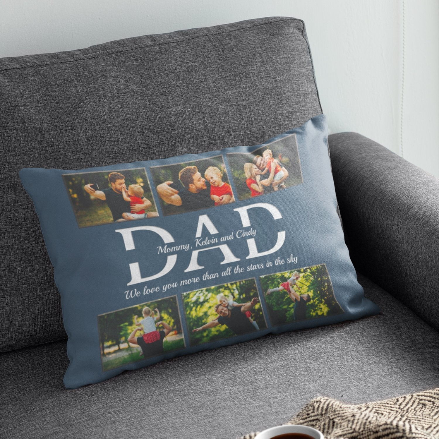 This Custom Dad Pillow will make a good match with the above Love Letter Blanket. Simply add names and your personal message to express that you love him very much. I bet this unusual gift will make him feels unique and special like the pillow you make for him.