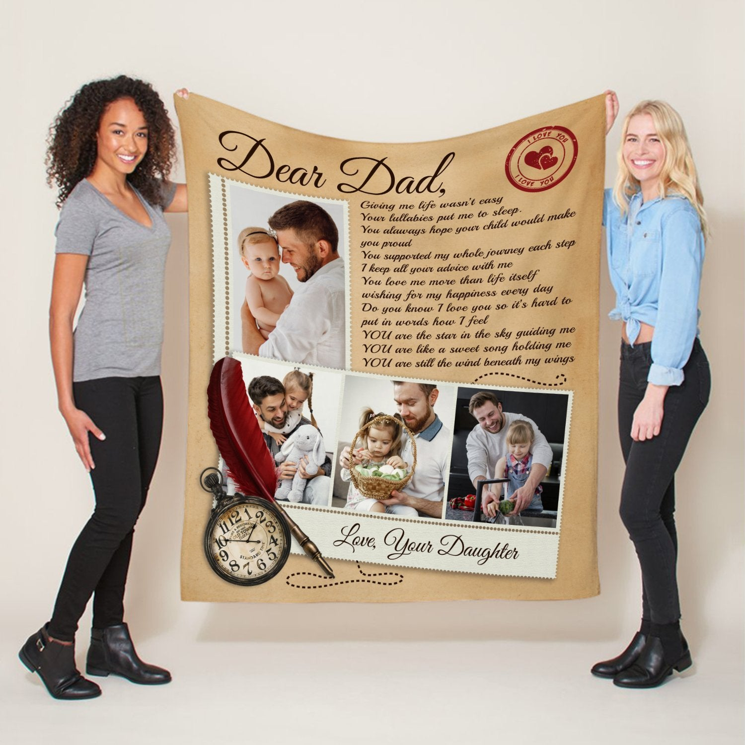 """A Love Letter Blanket is also a good gift suggestion for father's day. Imaging that he will get warm every single night with your heartfelt letter blanket. How meaningful it is! Let this blanket whisper silently """"love you dad' in his dream at night."""