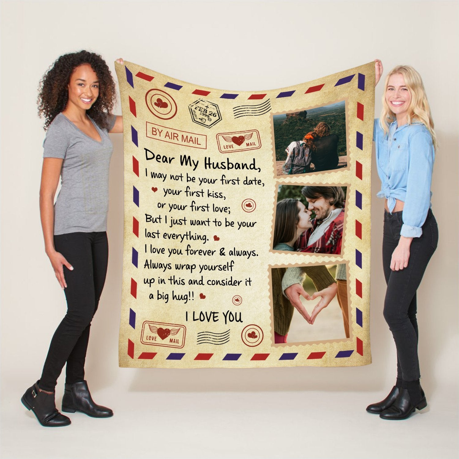 """Sometimes, a good night's sleep is all he needs after a long hard working day. Allow us to introduce a gift that your husband sleeps better in your good thoughts and memories. You just need to choose some photos and we will make this Blanket a """"One-of-kind"""" for him."""
