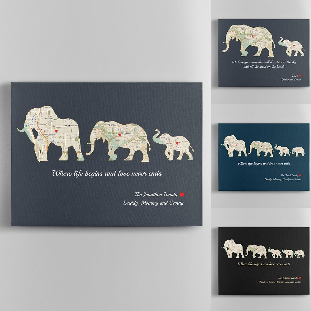 """""""Happy First Father's Day!"""" - A sweet and simple wish along with this Elephant Family Map Canvas will be an unexpected surprise for him. You can also write your own message to make it more heartwarming and I'm sure he will treasure it forever."""