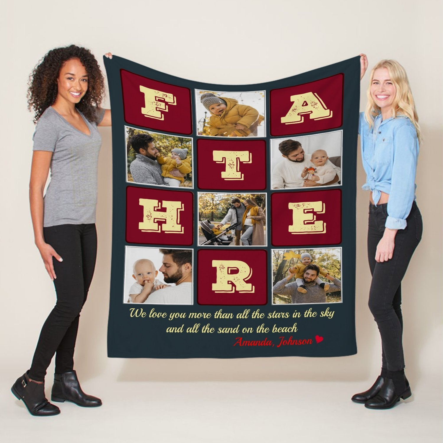 Sometimes, a good night's sleep is the best gift for a newbie Dad. Let's make his night more comfortable with this beautiful blanket. It's also a good way to showcase favorite photos and moments of your little family.