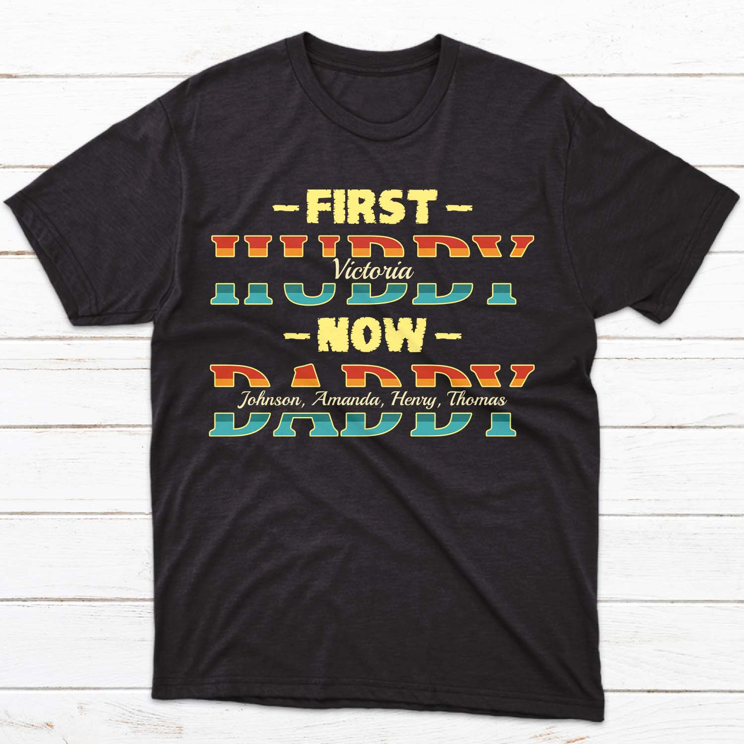 For a first-time Dad with a cute family to be proud of, you cannot go wrong with this shirt. First, he is a Hubby of his beautiful wife. Now, he is a Daddy of his babies. Made of high quality cotton, this shirt will keep him comfy while hanging out with his child, or… when he's taking a quick nap with his baby.