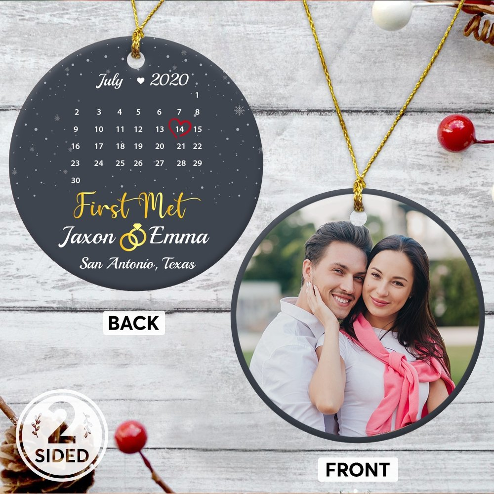 Need something unique to celebrate the most thoughtful anniversary to relight the fire of passion in your relationship? This personalized calendar ornament in a navy background with your romantic photo will help you to record your first met and express the true feeling with your partner.