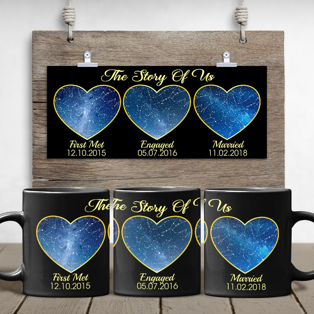 Different from the above photo mugs, this black ceramic coffee mug tells your love story with three phases from being a stranger to being a partner for life including first met, engaged, and married. And for a space lover, star maps inside three heart shapes will be an out-of-this-world gift idea on special occasions.