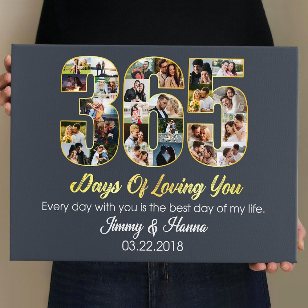 Do you usually take photos with your husband? If you do, let use those photos to prepare him a meaningful anniversary gift. Get him 365 days of love photo collage canvas, this picture collage ideas will help you and him have a happy anniversary. You two can look at it and recall your fondest moments at any time. Good choice to heat up the fire of love.