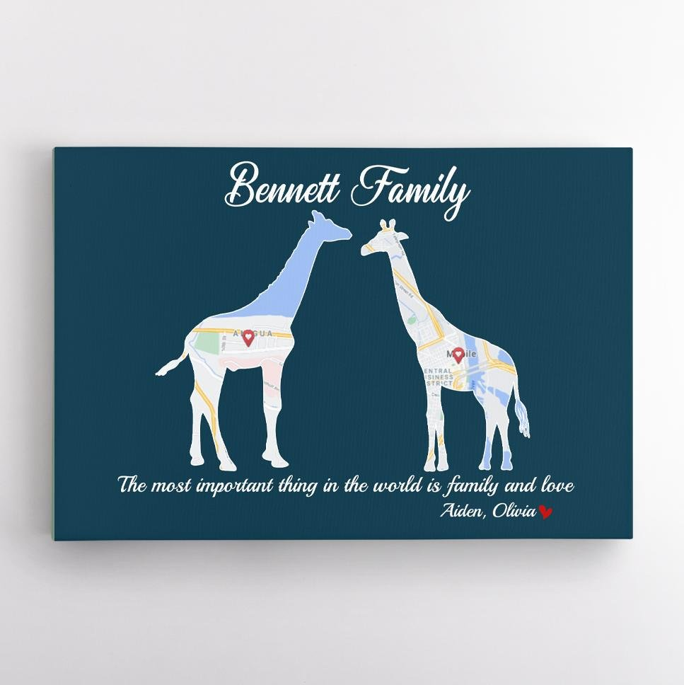 Giraffe Family, Custom Map Print, Personalized Family Name And Text Canvas Wall Art