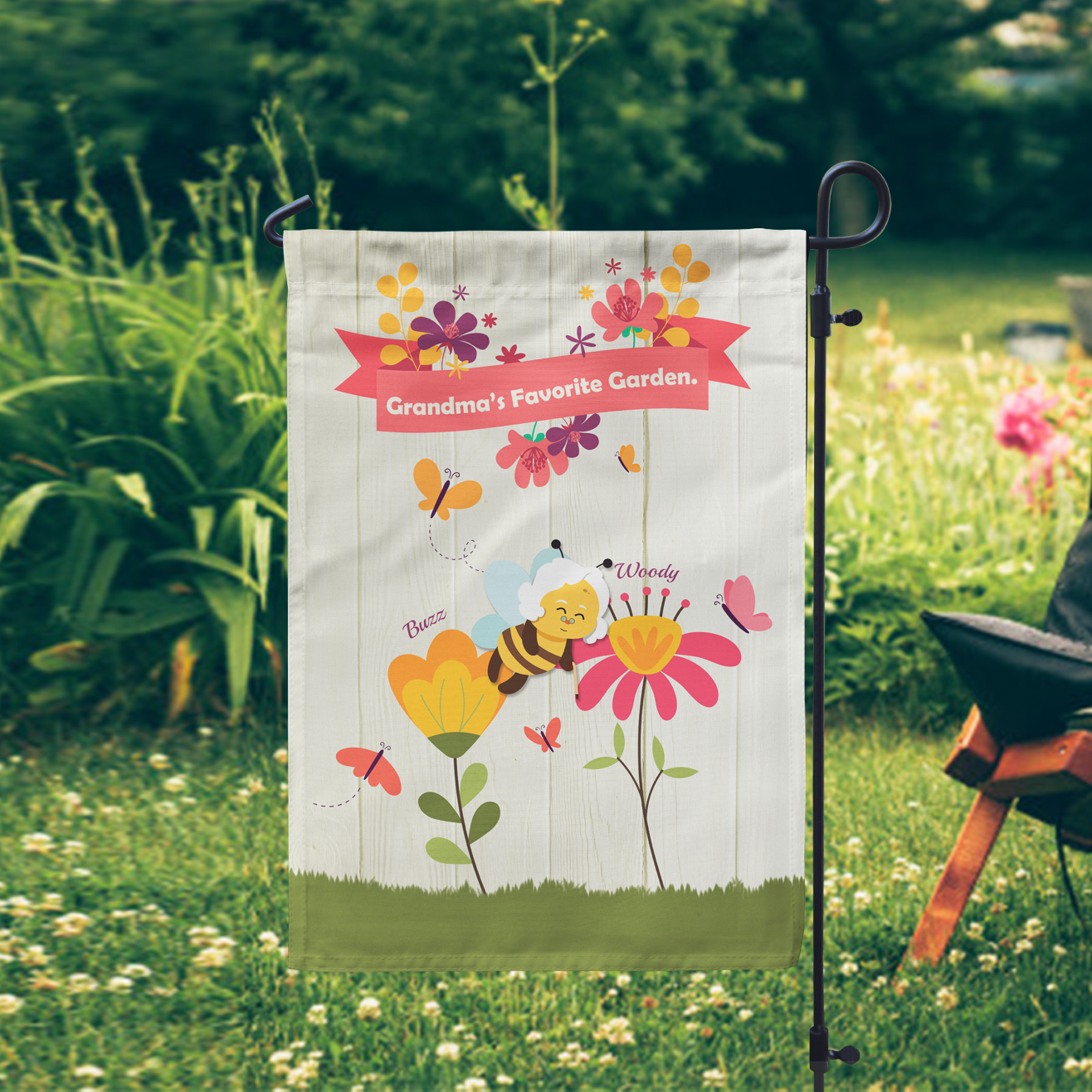Does your mom love gardening? If yes, why not buy this unique mom garden flag for mom's garden? The flag with a colorful design features dad and mom bees, pretty flowers, and butterflies on the green grass. Bees are nourishing flowers like the ways mom and dad care about you and wish you bloom colorfully. This impressive keepsake will absolutely make mom's garden more vivid and help her feel happier when gardening