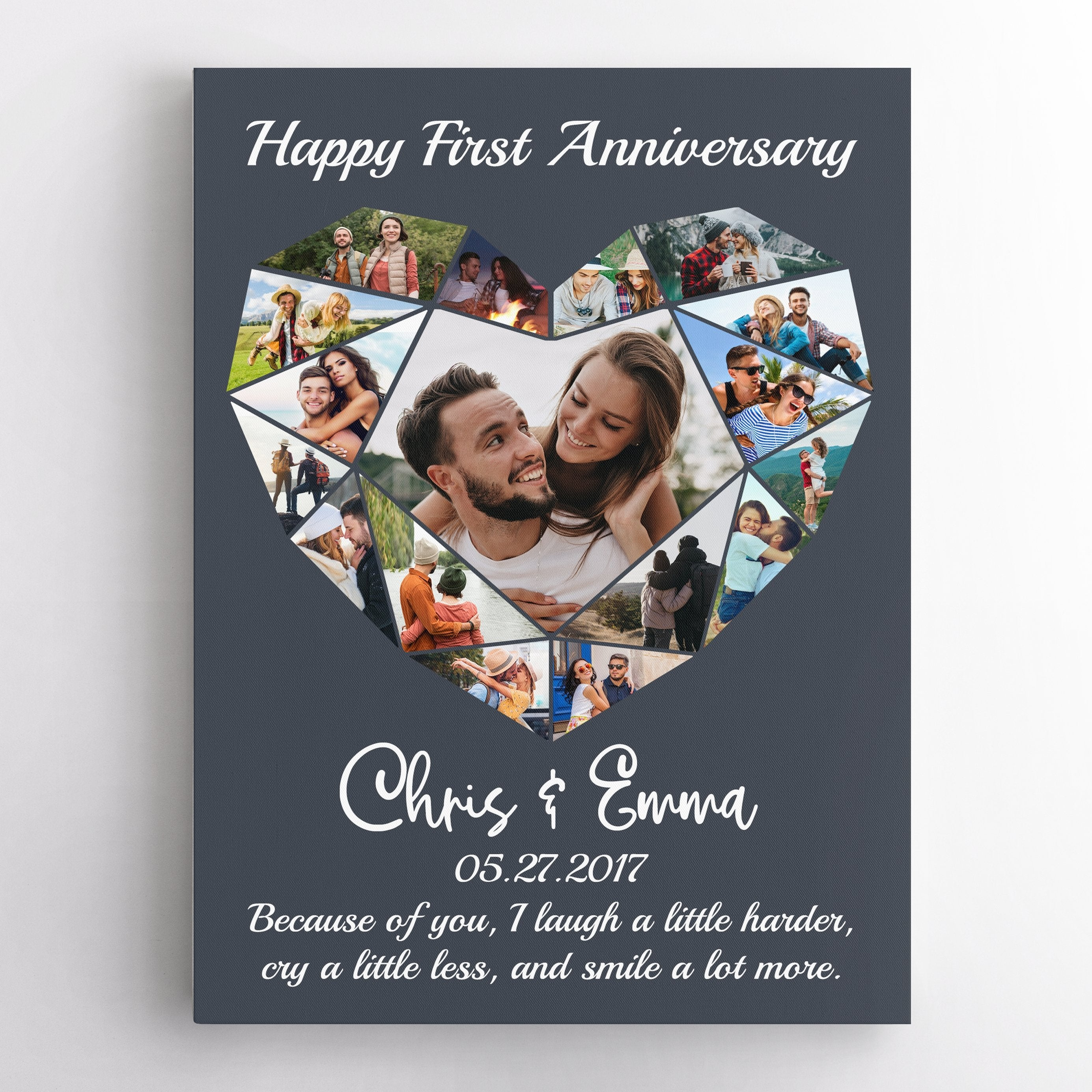 Make your pictures in your camera roll come alive with this photo collage canvas wall art. Simply upload your photos, add names, anniversary date & your favorite love quote to create your own gifts!