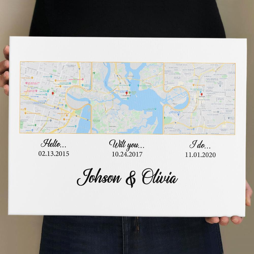 Another map idea is a custom puzzle map to feature the location of your love path - Hello Will You I Do. This meaningful gift is suitable for a married couple. It's a testimony for their heart.