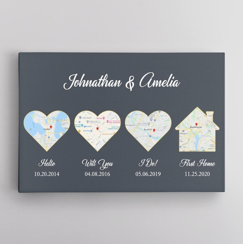 """Give your husband this """"Hello Will You I Do First Home"""" map canvas print as a unique gift to celebrate your 1st anniversary. The first heart shows where & when you first met. The second heart illustrates when he popped the question. The third heart is the date & place both of you said 'I Do.' The house shows when you bought your first home. Design your gift now!"""