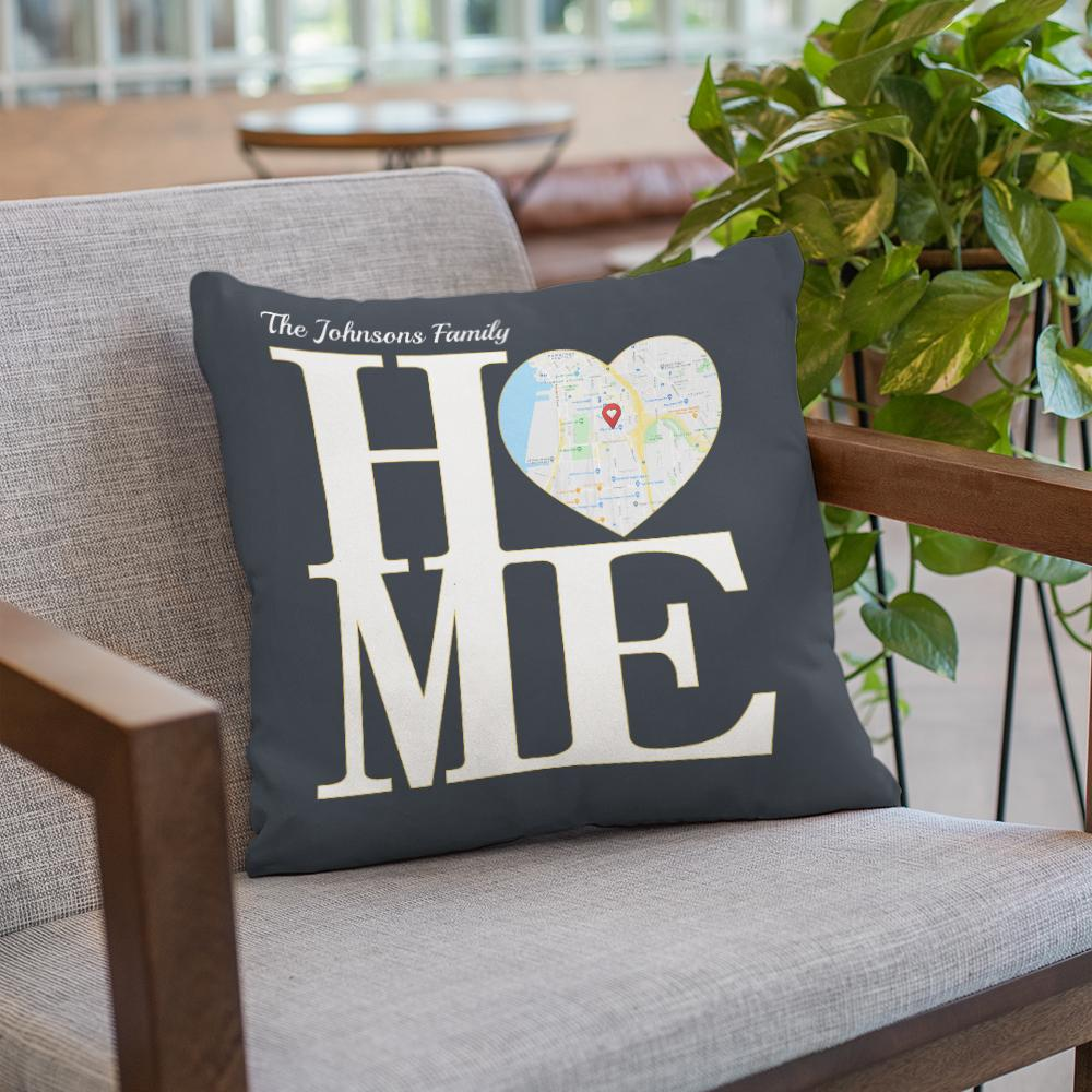 """Do you want to help mommy get rid of tiredness after a stressful day? Don't hesitate to buy her a Home Custom Map Print Pillow. This pillow spells out the letter """"HOME"""" with a custom map in the heart shape. Each time mom embraces it, your love will massage and recharge energy for her."""