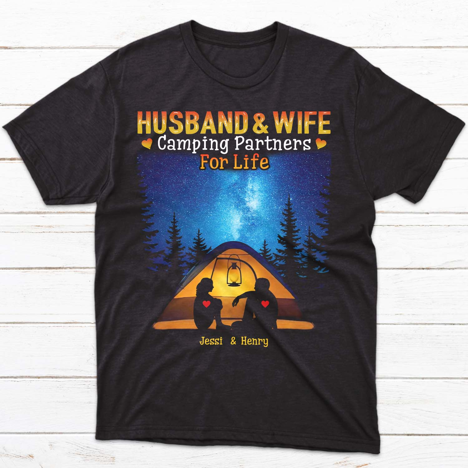 Husband & Wife Camping Partners For Life Matching T-shirt Personalized With Names With A Wide Range Of Colors and Size