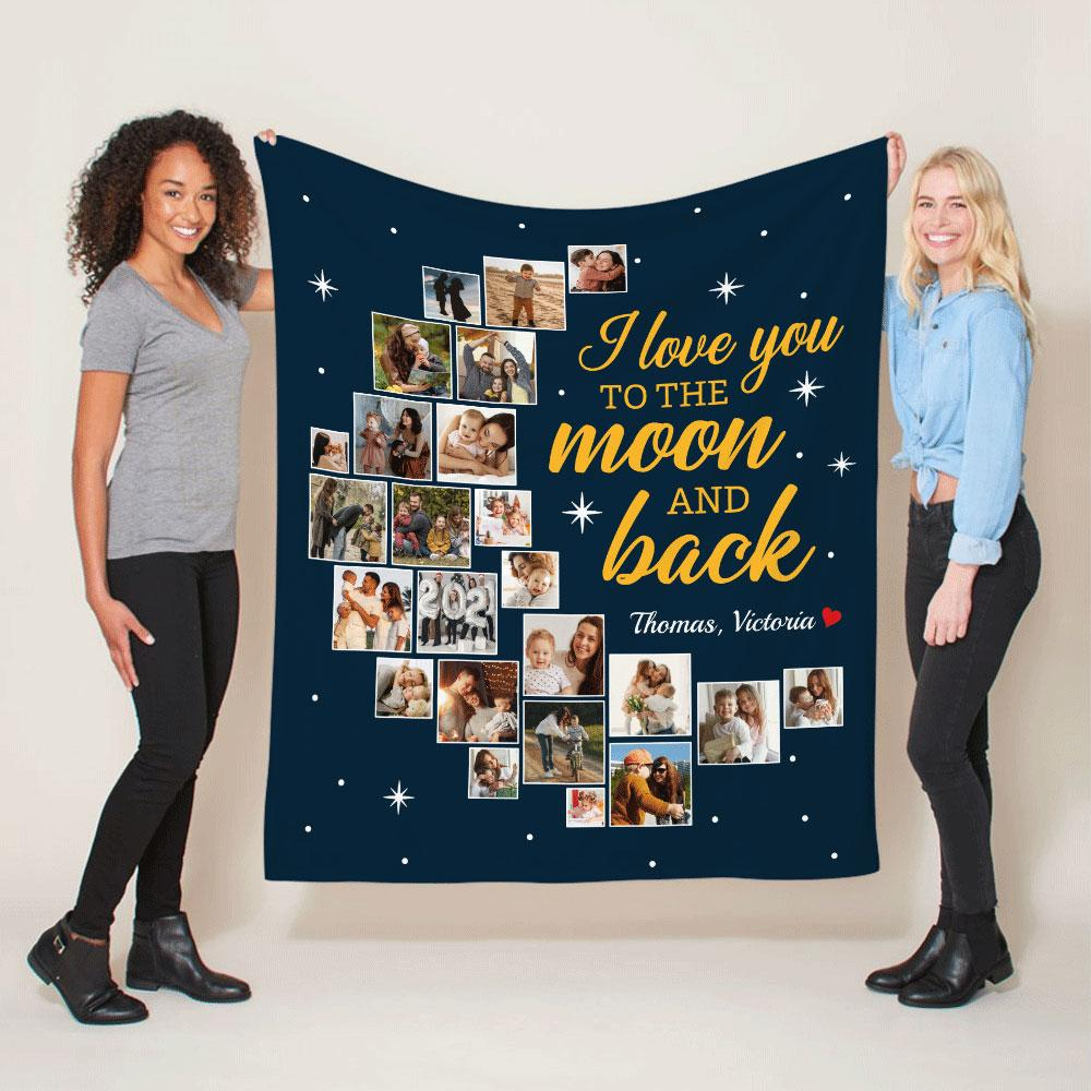 I Love You To The Moon And Back, Custom Photo Collage, 24 Pictures, Blanket
