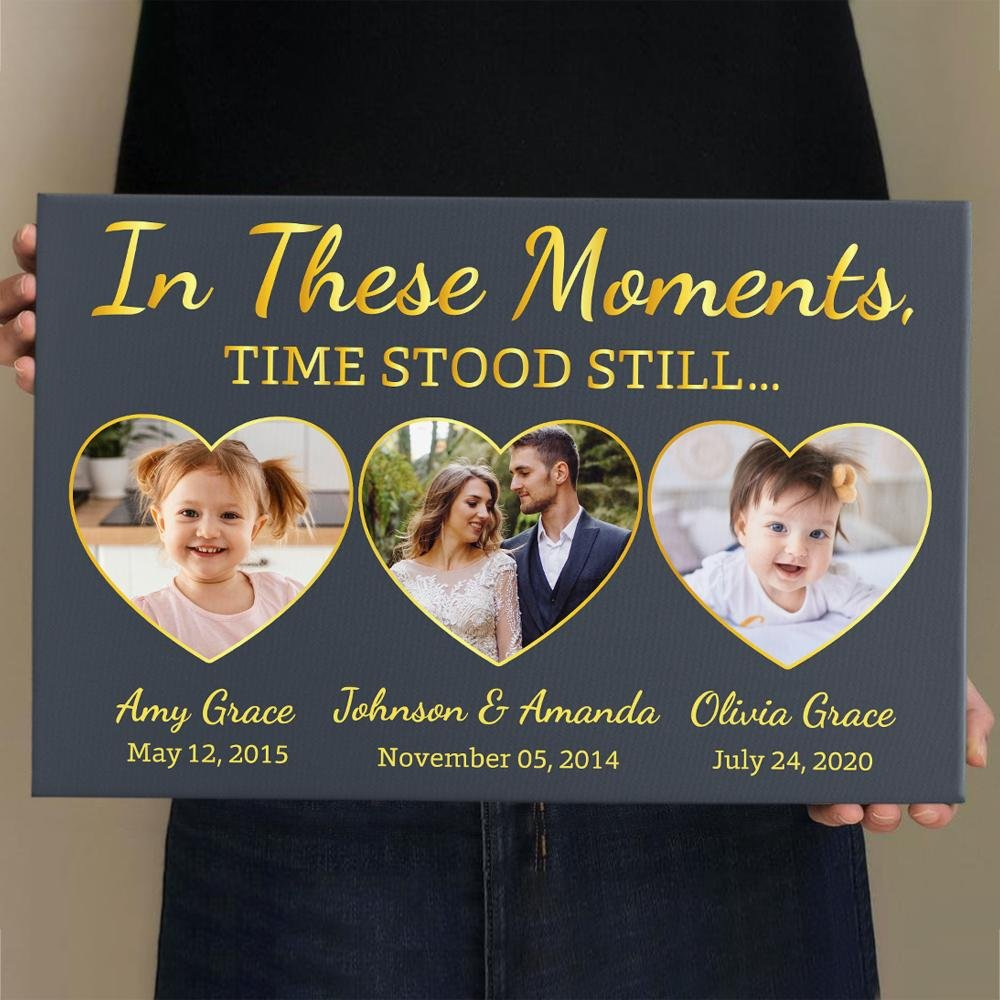 In These Moments, Time Stood Still, Custom Photo, Personalized Text Canvas Wall Art