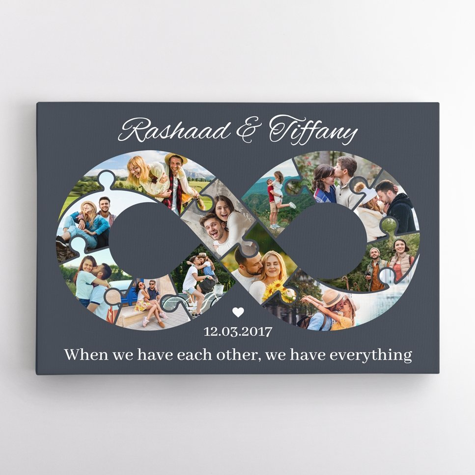 We all want our love to last to infinity, right? So let's make a photo collage wall art with your photos in the shape of an infinity symbol as a promise and a reminder of love. How can we forget an anniversary like this?
