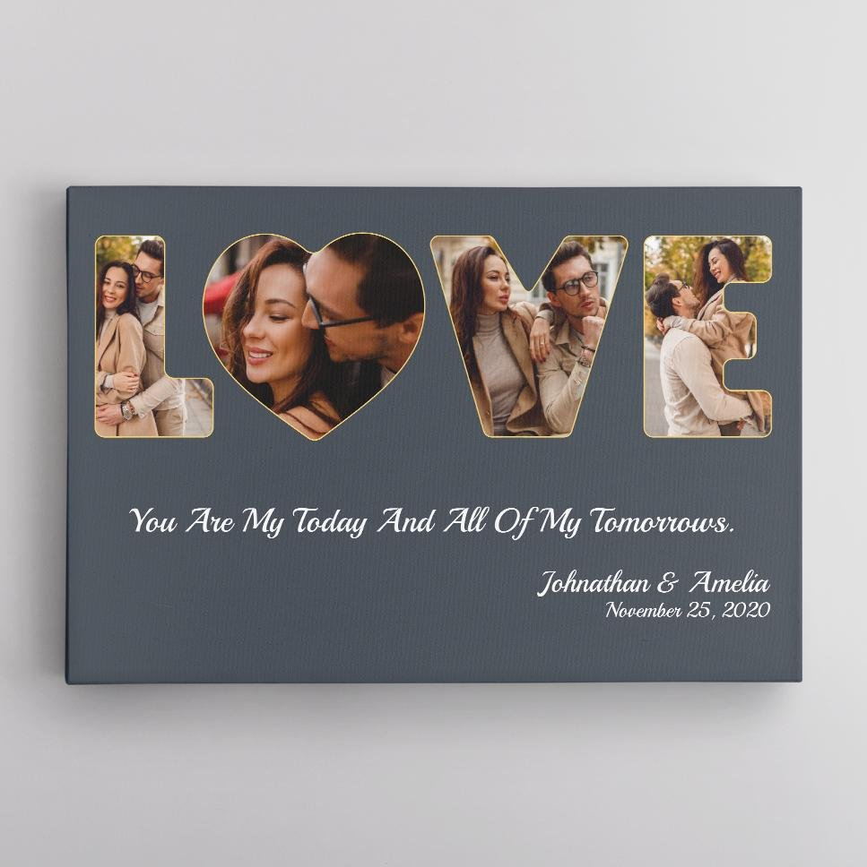 You want to show your love to him this Valentine's day. This Photo Collage Wall Art can help you do the job without saying a single word. Just add 4 pictures in the shape of letters 'LOVE', date, and your message to take him back to your first met, first kiss, or when he proposed, etc. When receiving your thoughtful gifts, your husband will know you still remember. Design your photo collage today!