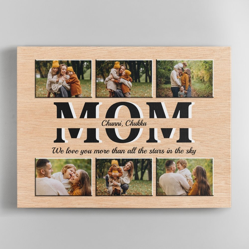 A word may be gone after we say it, but a picture keeps memories forever. This mother's day, why not buy mom a meaningful mom custom photo canvas gift? The photo collage of mother son images on the light wood background will help her keep her fondest memories close by.