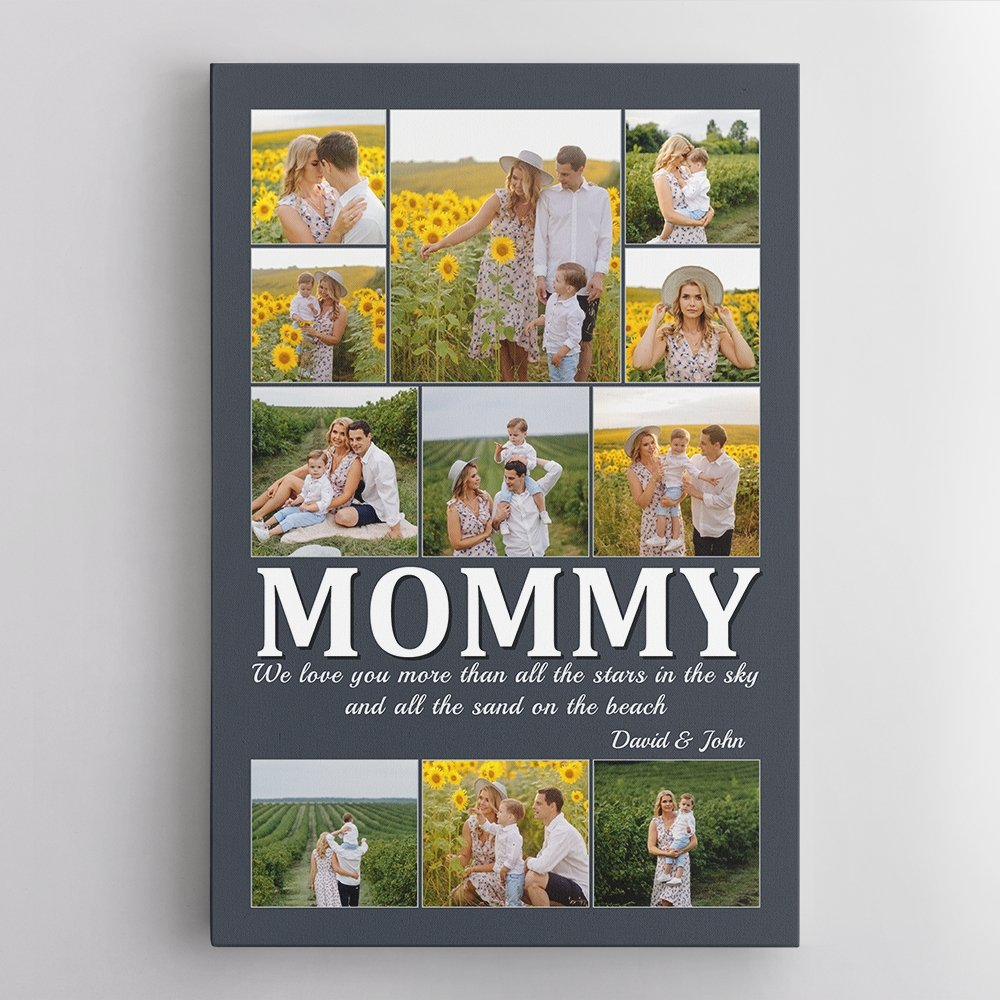 What do Moms worry about most? Family, of course. That is the first and always priority of her. So, this mother's day let give her a Personalized Family Print with the best photos of the family's memories and your message on it. This sentimental gift will make her smile, make her proud and give her more power.