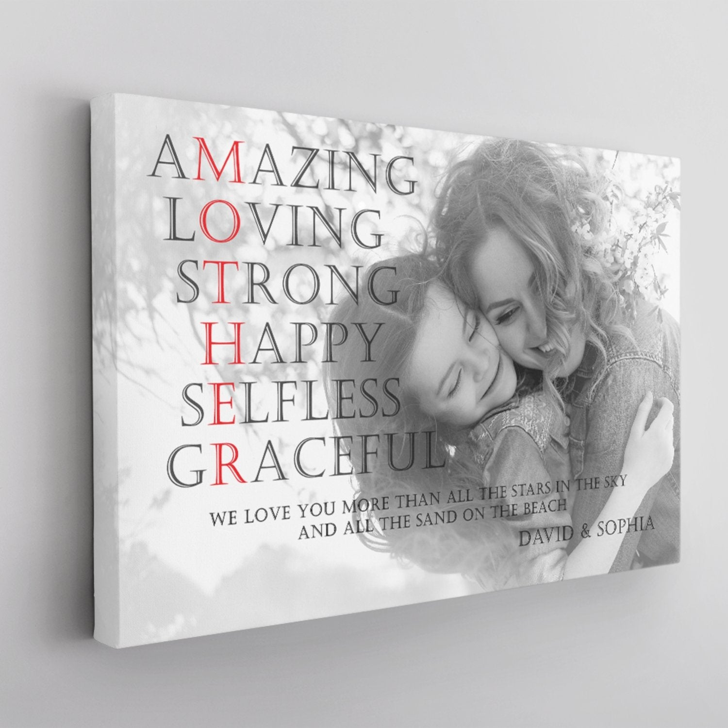 Mother, Amazing, Loving, Strong, Happy, Selfless, Graceful Custom Photo And Text Canvas Wall Art