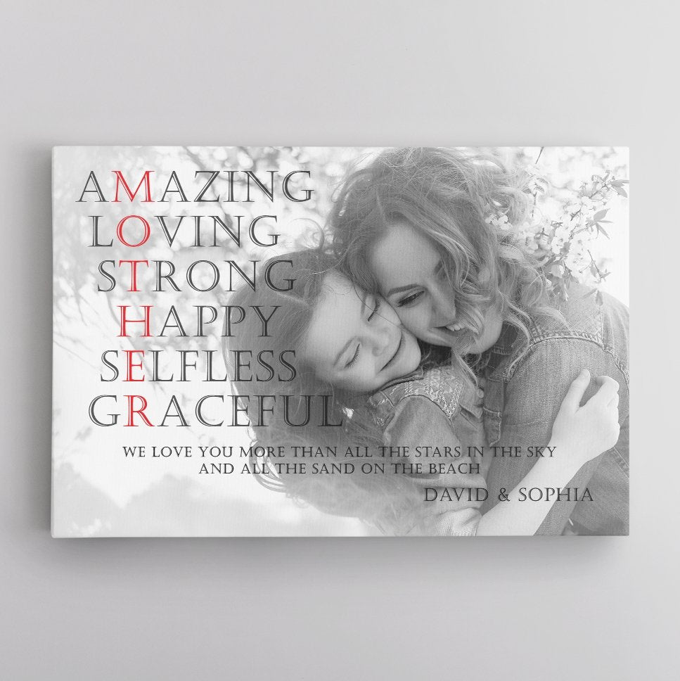 How would you describe your mother? She is amazing, loving, strong, happy, selfless, and graceful, always be like that, right? So, this mother's day let get mom a meaningful gift of Mom Definition Wall Art. It's not just a happy mother's day gift, but also a way to honor mommy's attributes.