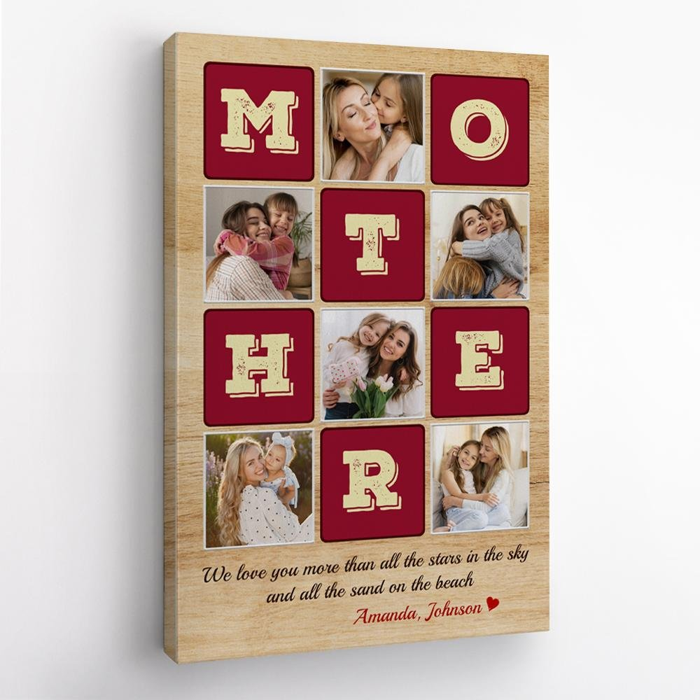 Mother, Custom Photo Collage, Personalized Name Canvas Wall Art