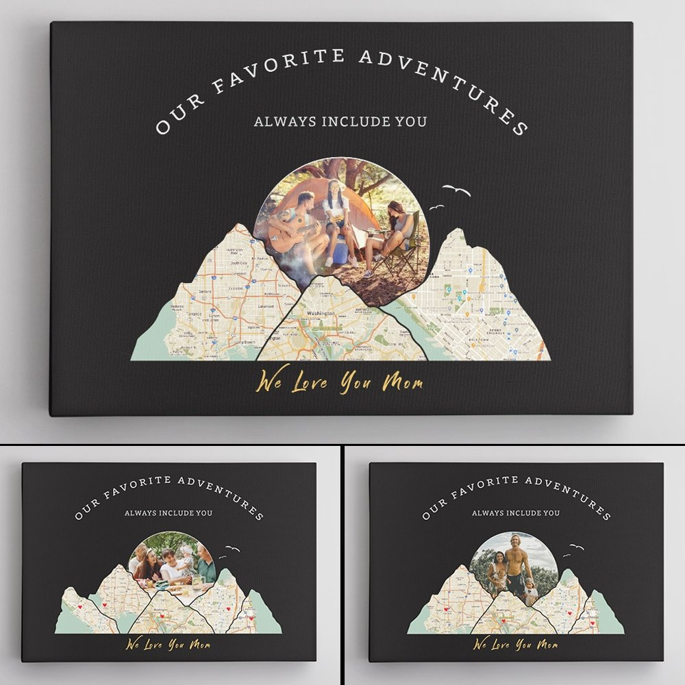 Our Favorite Adventures Always Include You, Custom Travel Map, Personalized Map Print And Photo, Canvas Wall Ar